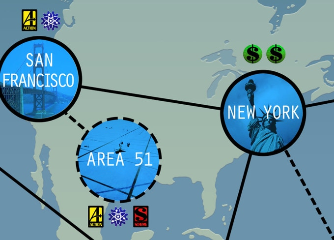 A close up of three locations. New York provides two Finance Resources, while San Francisco provides one Science and an Action Card. Area 51 is a Hidden Site (you must first get access to the site), and grants Science plus Action and Scheme cards.