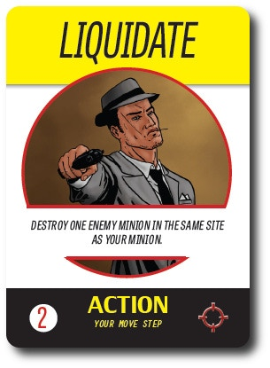 An Action card. Each action card specifies the effect and indicates when you can play it.