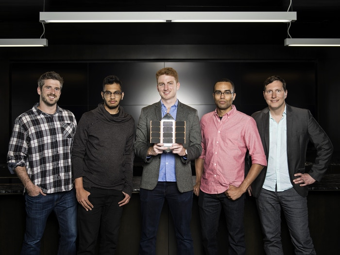 From left, Bradley Farquhar, Varun Vruddhula, Ryan Holmes, Blaze Sanders, and Tim Debenedictus.