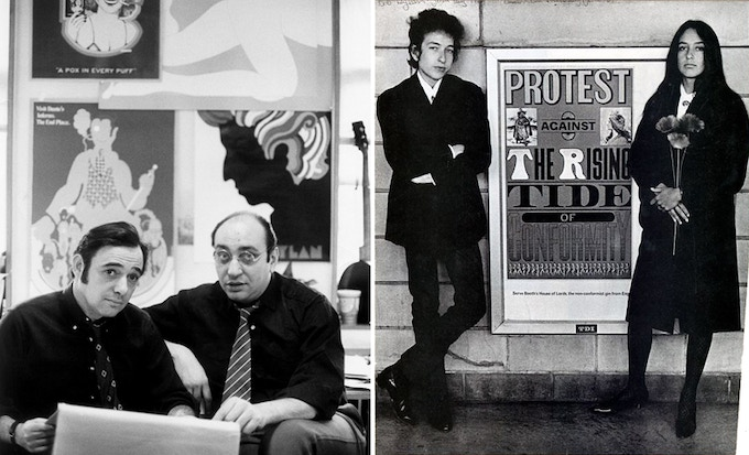 Seymour Chwast and Milton Glaser, 1968; Bob Dylan and Joan Baez flanking a Seymour Chwast poster, 1964. Photo: Courtesy SVA Picture Collection.