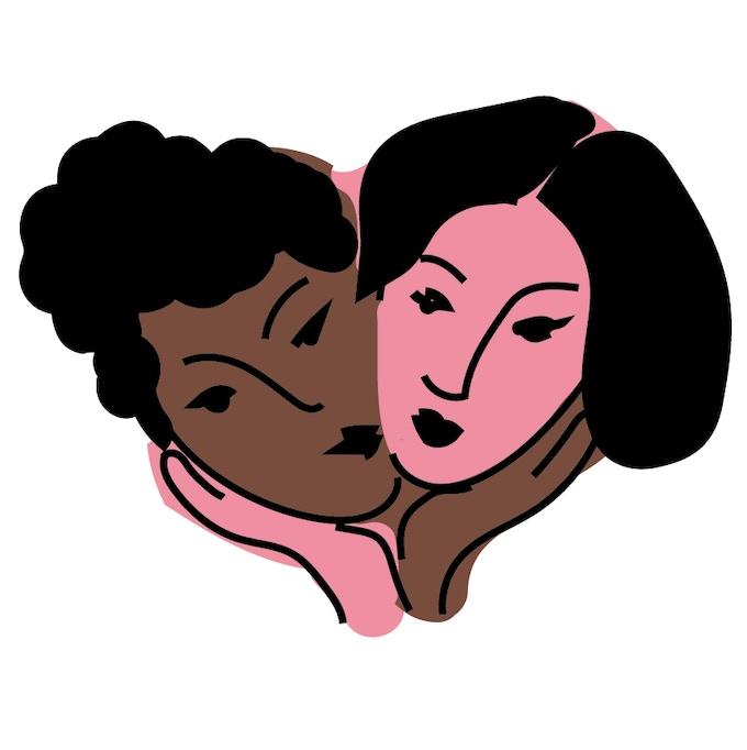 Interracial Lady Kiss Pin Illustration