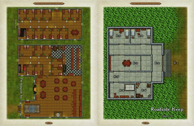 Sample tactical map from TCD1, Act II : Wayside Inn and Roadside Keep