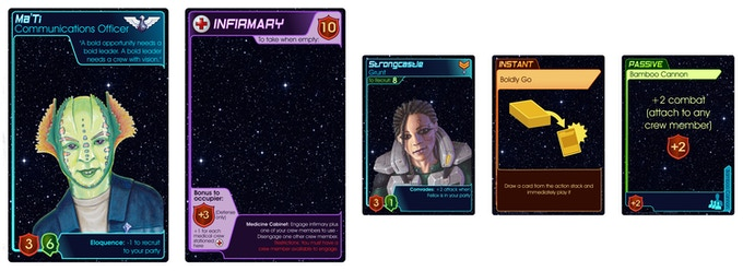 Examples of each type of card: Leader, ship section, crew member, instant, and passive.