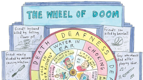 Omg, that was a 60% probability of...public humiliation (cartoon by the brilliant Roz Chast, who we wanted to film, but she was on a book tour)