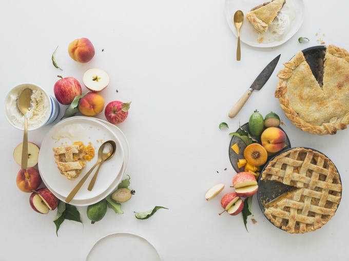 Fresh Peach Pie + Apple & Feijoa Pie (this is shot for a double page spread) | GOING IN THE SWEET SECTION OF THE BOOK