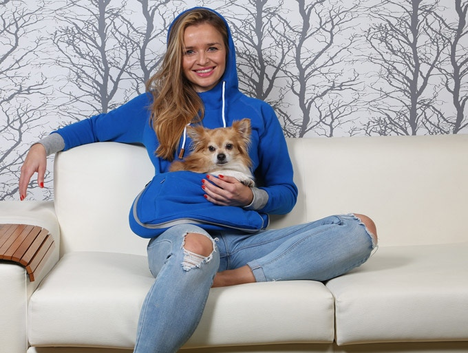 Wear Roodie for some cuddles when lounging with your small dog.