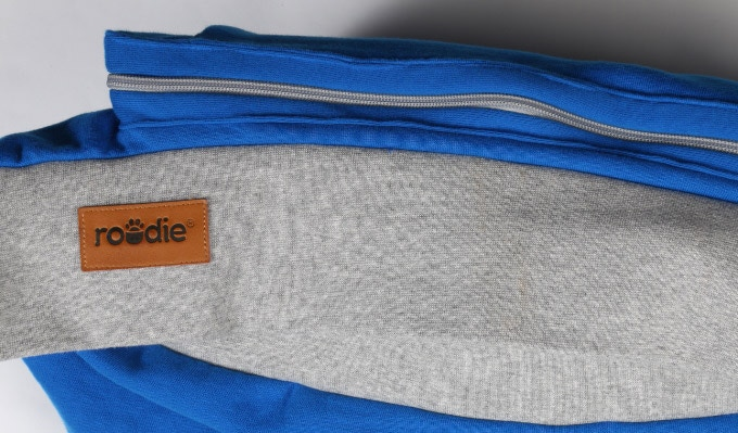 View of pouch from bottom when zippered closed.
