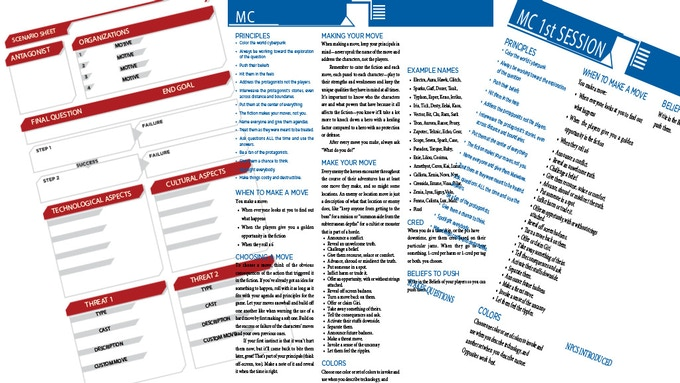 MC reference sheets; layout not final