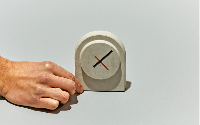 A concrete clock, cast from a mold made with the FormBox