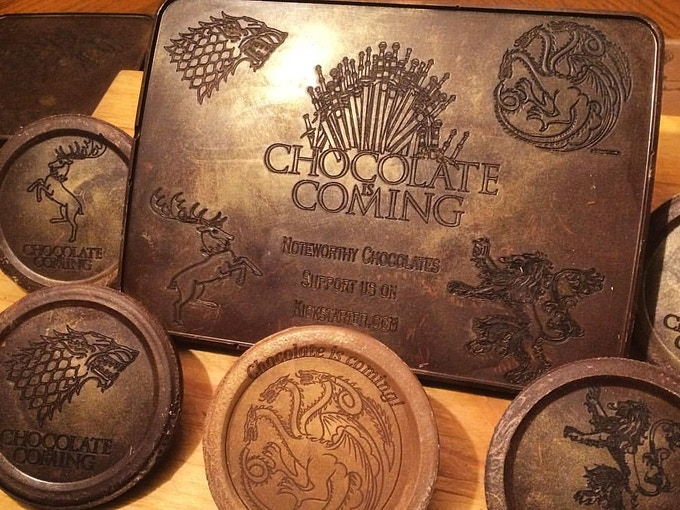 We were so excited for the premiere of Season 6, we made a collection of Game of Thrones engraved chocolates!