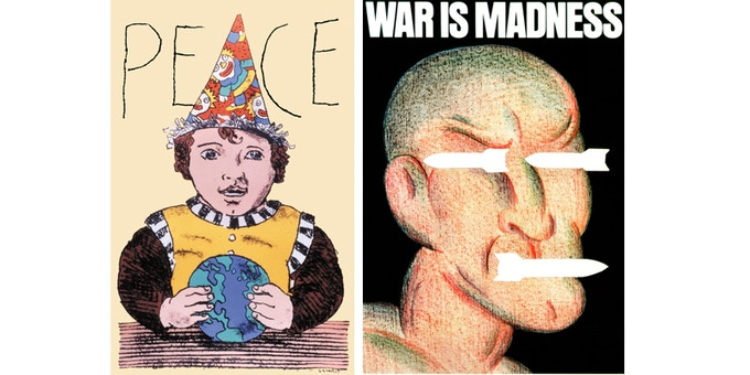 """For $360: """"Peace,"""" ORIGINAL offset poster. For $2,100: """"War Is Madness,"""" ORIGINAL offset poster. Plus a copy of """"At War with War."""""""