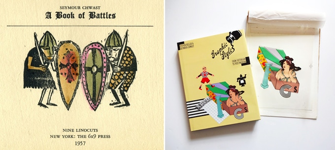"""Two of our rewards: rare copies of Seymour's """"A Book of Battles,"""" 1957 (title page shown, left); and an original four-color mechanical for a book he designed and co-authored, """"Graphic Style."""""""
