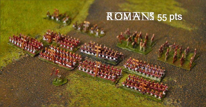 A regular 55Pt Roman Army (starter army) built and painted in just two hours.
