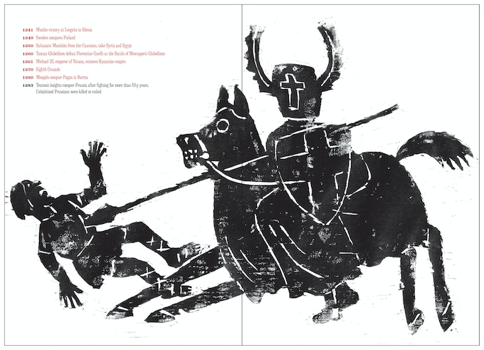 """Illustration from woodcut of Teutonic knights from """"At War with War."""""""