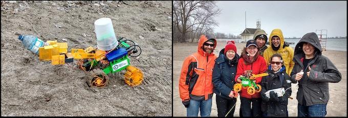 Robot capturing debris, Field Test crew with robot