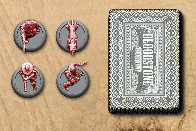 To play Bloodstone Frontier, all you need is a deck of playing cards and two opponents with a Gang of 3-5 Characters each