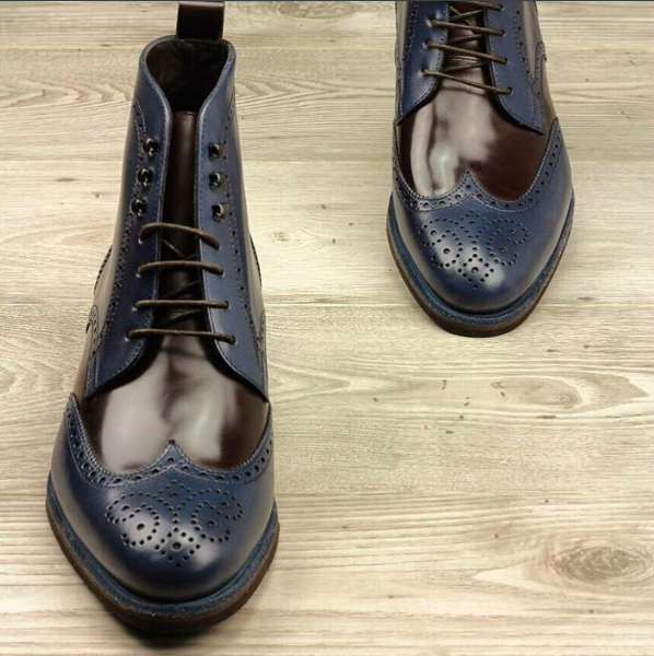 Brown & Navy Box Calf Leather Military Boots