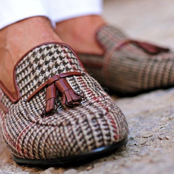 Box Calf Tasseled Tweed Loafers