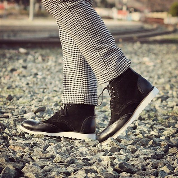 Black Box Calf & Suede w/ Wedge Sole Military Boots