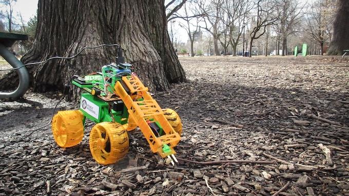 Robot taking environmental sensor data (soil moisture)
