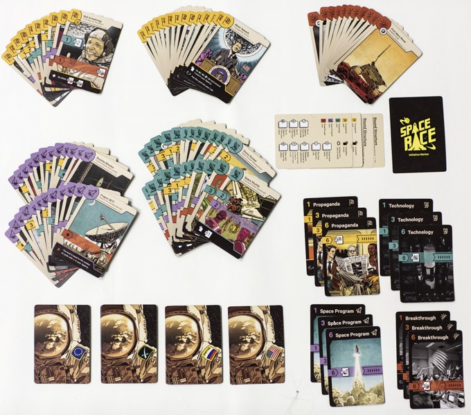 Photo of a prototype of Space Race: The Card Game spread on a table.