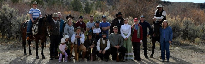 Cast and crew members after the completion of the first day's filming, 'Sins of the Past' (2014).