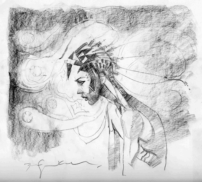 Bill Sienkiewicz Original Sketch of Azarus