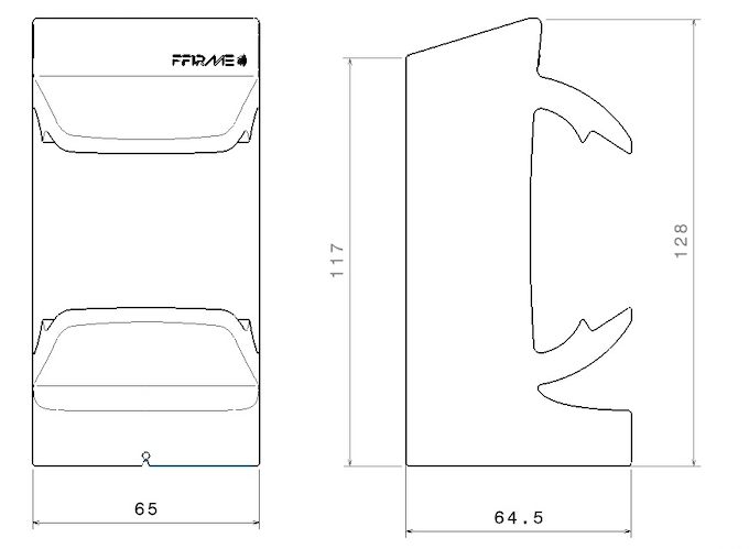 Dimensions of the FFIRME® Holder in mm