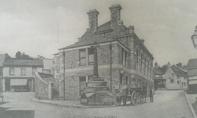 The Town Hall, Bovey Tracey. Photo taken approximately 100 years ago.