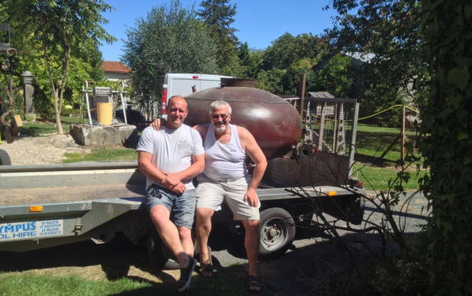 Founders, Greg & Simon, bringing the still back from France   Founders, Greg & Simon, bringing the still back from France in 2014