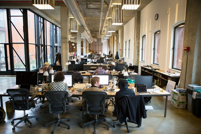 The team at work here in our Greenpoint offices.