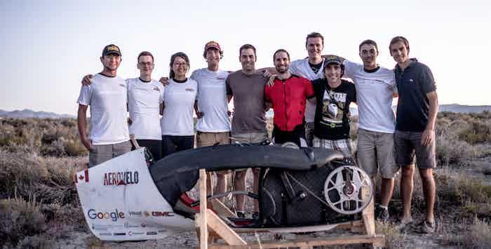 Eta Speedbike Team at the World Human-Powered Speed Challenge in Battle Mountain, Nevada.