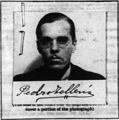 Pedro Telleria, 1930, Passport Photo