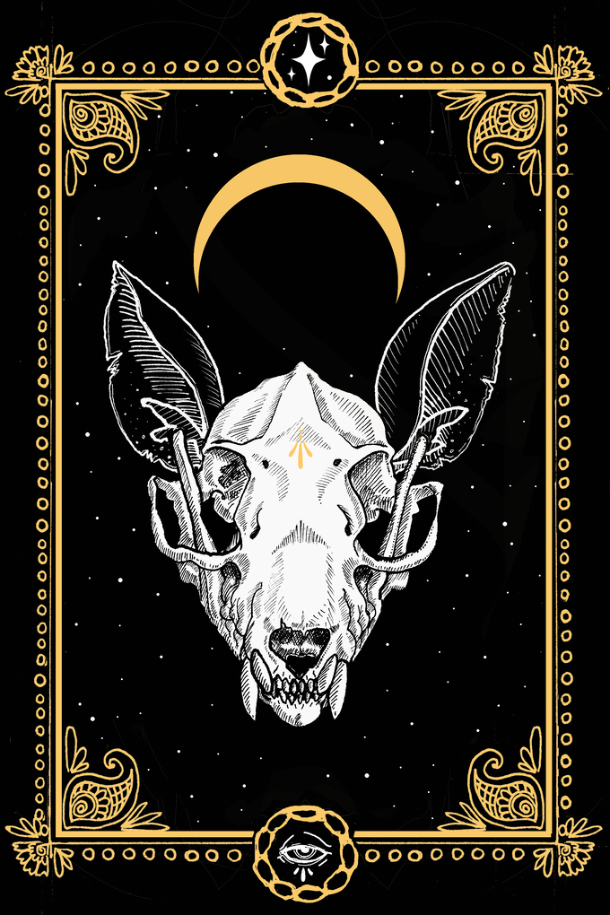 "Proposed screenprint design - white and metallic-gold ink on black paper, 4""x6"", actual colours may vary from mockup, limit of 40 availible, only with SPECIFIC reward tiers"
