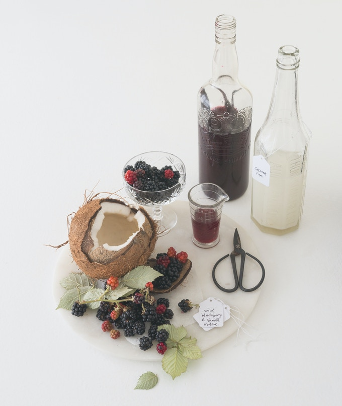 Wild blackberry and vanilla liqueur | Hand pressed coconut rum | GOING IN THE EDIBLE GIFT SECTION OF THE BOOK