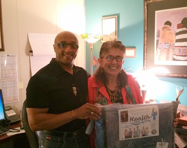 Michaelson Williams Donating Health-T Fitness Mats to Billie Alexander Avery Director of SouthLight Healthcare