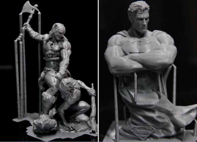 Fire and Ice (x, y 63um, z 100um) (Left), Superman sculpture (Right)  Designed by Alejandro Pereira (x, y 53um, z 100um)