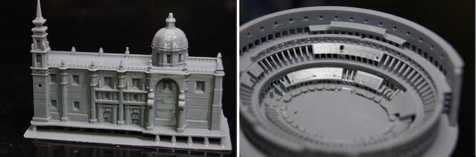 Santa Rosa de Viterbo by MiniWorld (x, y 53um, z 100um), Roman Colosseum by CausalJoemama7 (x, y 50um, z 40um)
