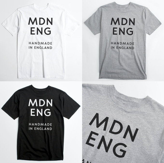 'MDN ENG' screen printed T-shirts in White, Heather Grey and Black