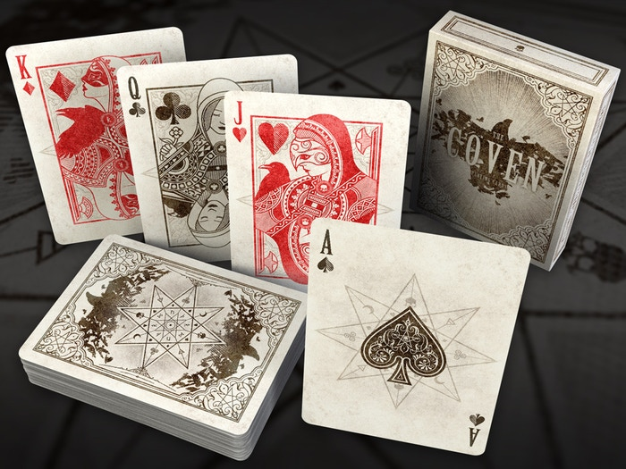 Custom poker size playing cards inspired by the mystery of the covens witches. Printed by EPCC