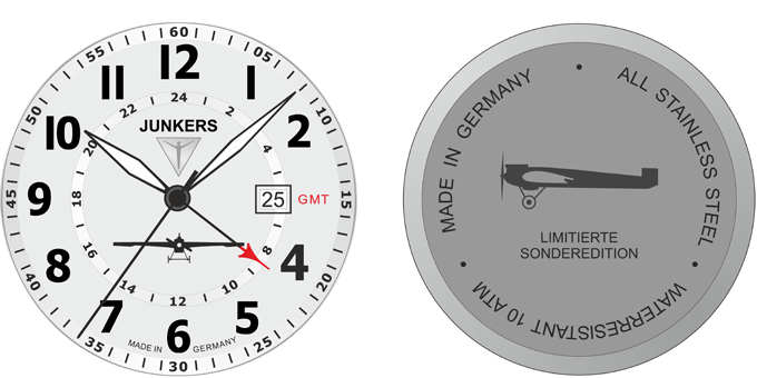 Design for the Junkers J1 watch dial and cover