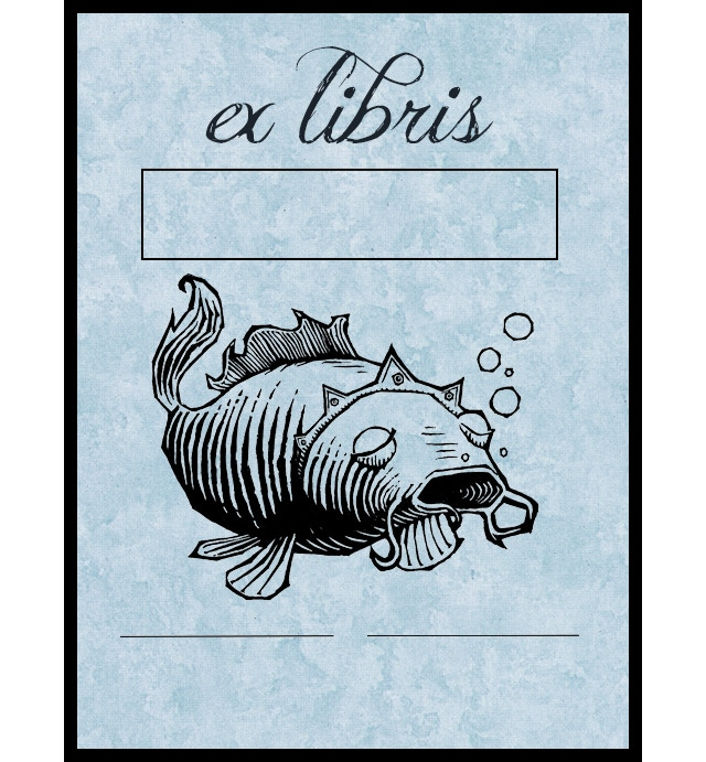 Custom Designed Fish King Bookplate Stamp