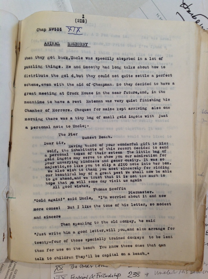One of the original typed pages of an unpublished chapter
