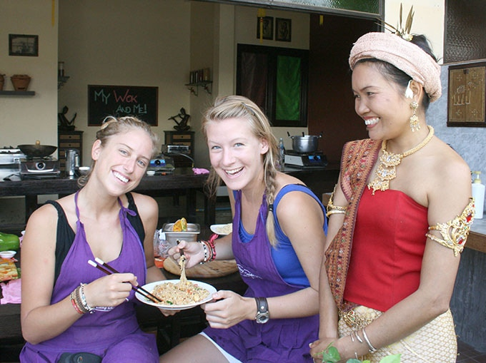 Students in Thailand enjoying the dish they created