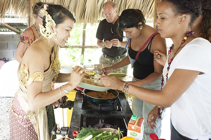 "Sharing something ""delicioso"" with students on my recent Caribbean cooking tour"