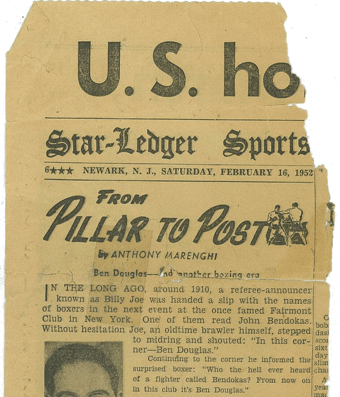 Ben Douglas' story featured in a 1952 issue of The Star-Ledger.