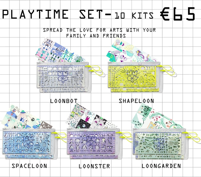Each kit include - stencil ruler, 8 stickers, coloring poster