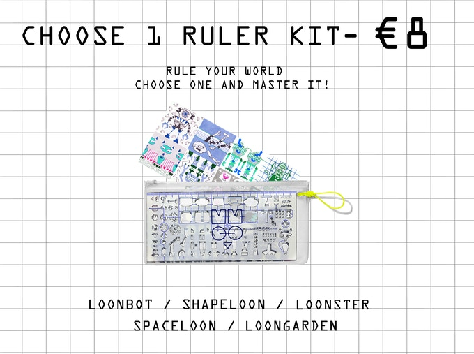 Kit include - stencil ruler, 8 stickers, coloring poster