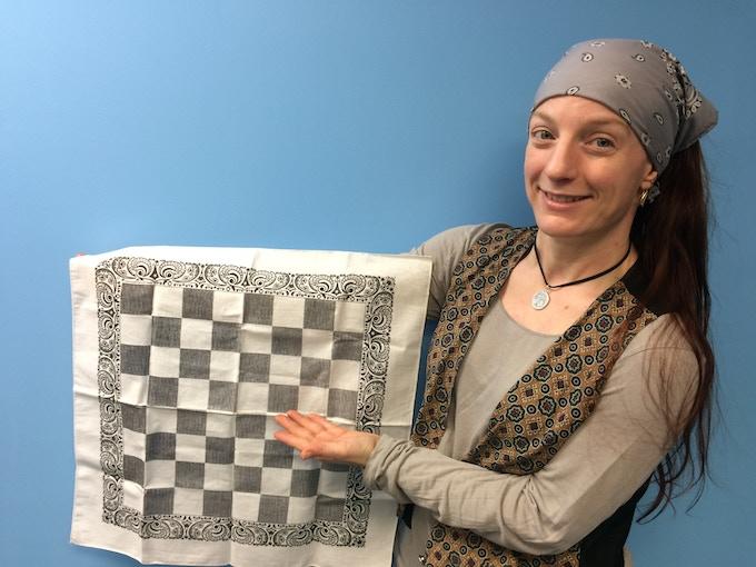 Alison Frane, chessboard bandana artist and customer service person extraordinaire!