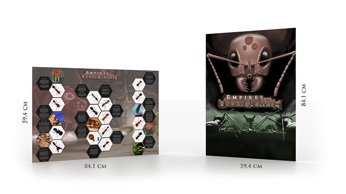 Left ant fact poster, right game art poster
